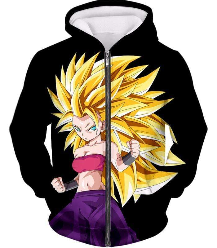OtakuForm-OP Sweatshirt Zip Up Hoodie / XXS Dragon Ball Super Cool Saiyan Caulifla Super Saiyan 3 Black Sweatshirt - Dragon Ball Z Sweater