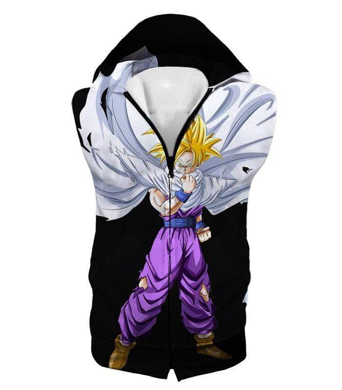 OtakuForm-OP Sweatshirt Hooded Tank Top / XXS Dragon Ball Super Extremely Cool Gohan Full Super Saiyan Awesome Black Sweatshirt - DBZ Sweater