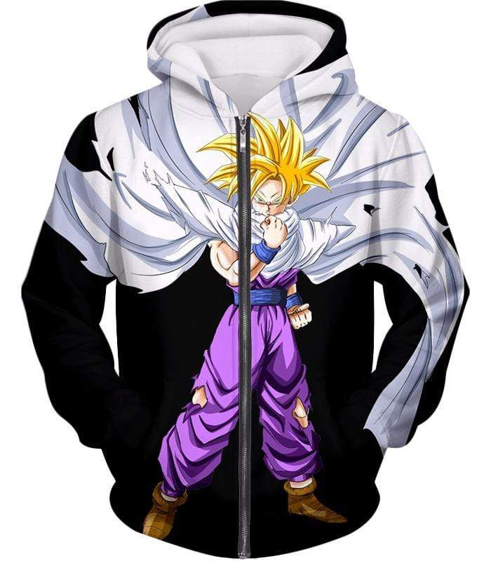 OtakuForm-OP Sweatshirt Zip Up Hoodie / XXS Dragon Ball Super Extremely Cool Gohan Full Super Saiyan Awesome Black Sweatshirt - DBZ Sweater
