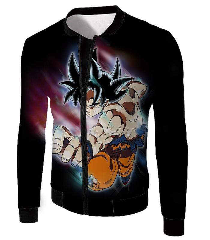 OtakuForm-OP Zip Up Hoodie Jacket / XXS Dragon Ball Super Form Goku Ultra Instinct Cool Action Black Zip Up Hoodie - Dragon Ball Super Hoodie