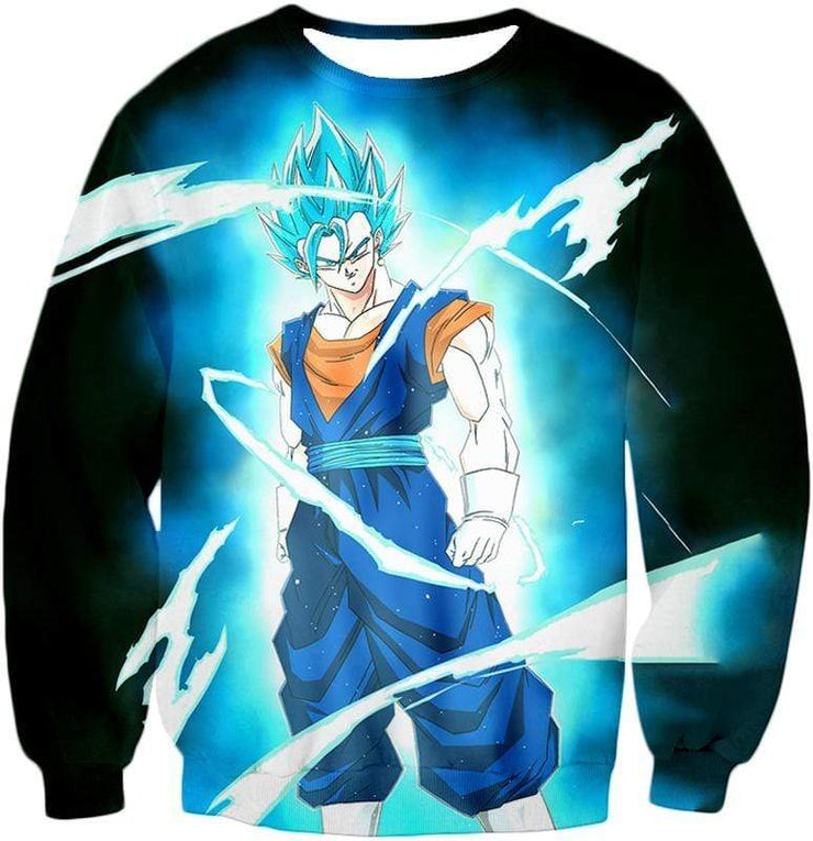 OtakuForm-OP T-Shirt Sweatshirt / XXS Dragon Ball Super Fusion Technique Vegito Super Saiyan Blue Cool Black T-Shirt - DBZ Clothing T-Shirt