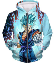 OtakuForm-OP Hoodie Zip Up Hoodie / XXS Dragon Ball Super Fusion Technique Warrior Vegito Super Saiyan Blue Awesome Graphic Hoodie