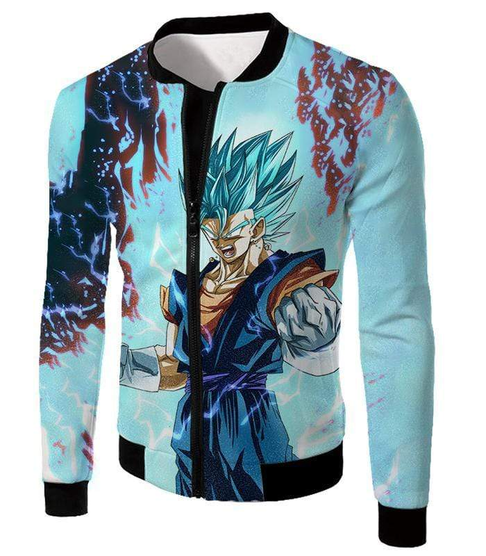 OtakuForm-OP Hoodie Jacket / XXS Dragon Ball Super Fusion Technique Warrior Vegito Super Saiyan Blue Awesome Graphic Hoodie