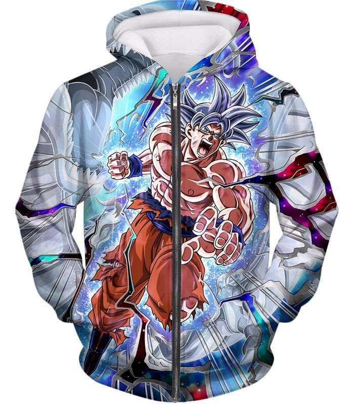 OtakuForm-OP Zip Up Hoodie Zip Up Hoodie / XXS Dragon Ball Super Hero Super Saiyan White Goku Amazing Action Zip Up Hoodie - Dragon Ball Hoodie