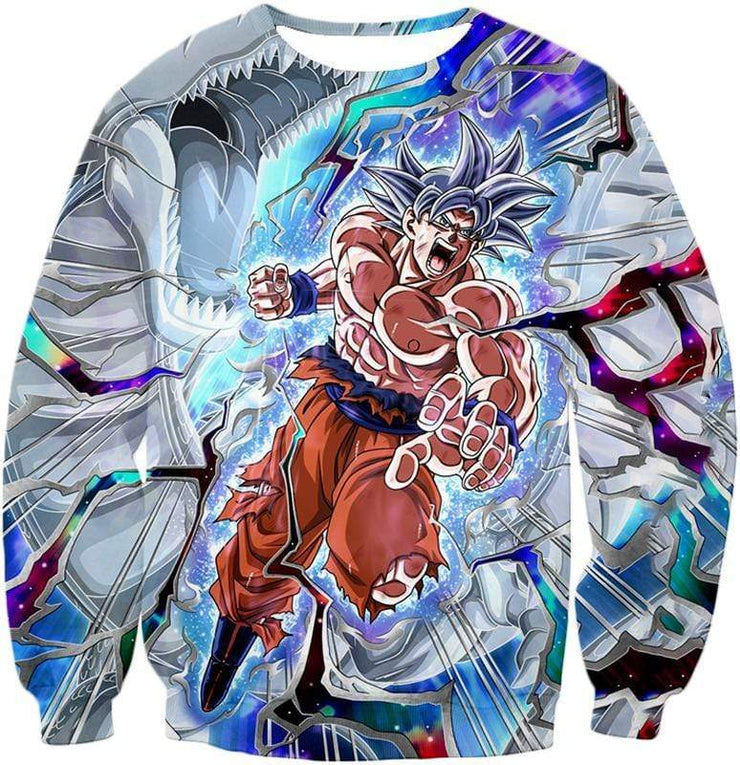 OtakuForm-OP Zip Up Hoodie Sweatshirt / XXS Dragon Ball Super Hero Super Saiyan White Goku Amazing Action Zip Up Hoodie - Dragon Ball Hoodie