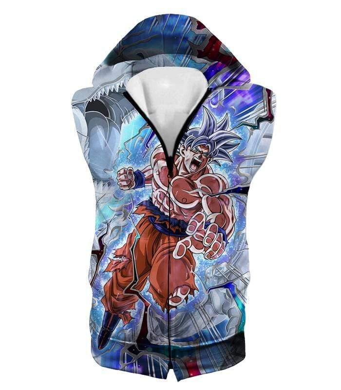 OtakuForm-OP Zip Up Hoodie Hooded Tank Top / XXS Dragon Ball Super Hero Super Saiyan White Goku Amazing Action Zip Up Hoodie - Dragon Ball Hoodie