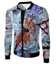 OtakuForm-OP Zip Up Hoodie Jacket / XXS Dragon Ball Super Hero Super Saiyan White Goku Amazing Action Zip Up Hoodie - Dragon Ball Hoodie