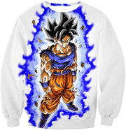 OtakuForm-OP Sweatshirt Sweatshirt / XXS Dragon Ball Super Latest Form Goku Ultra Instinct Super Cool Action White Sweatshirt - DBZ Sweater