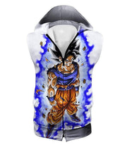 OtakuForm-OP Sweatshirt Hooded Tank Top / XXS Dragon Ball Super Latest Form Goku Ultra Instinct Super Cool Action White Sweatshirt - DBZ Sweater