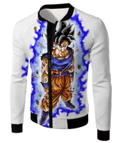 OtakuForm-OP Sweatshirt Jacket / XXS Dragon Ball Super Latest Form Goku Ultra Instinct Super Cool Action White Sweatshirt - DBZ Sweater