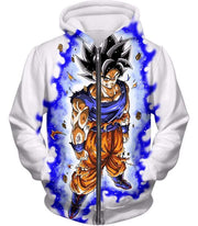 OtakuForm-OP Sweatshirt Zip Up Hoodie / XXS Dragon Ball Super Latest Form Goku Ultra Instinct Super Cool Action White Sweatshirt - DBZ Sweater