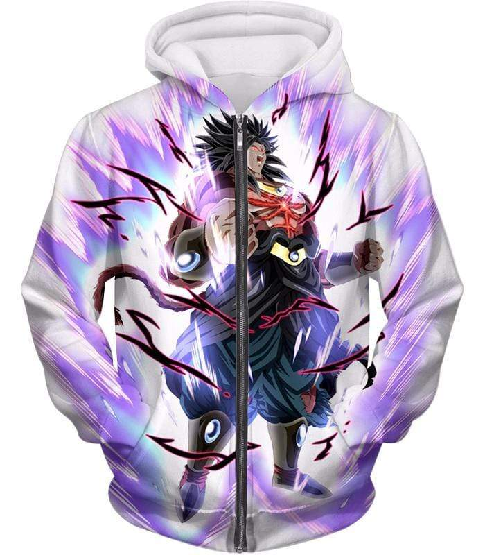 OtakuForm-OP Zip Up Hoodie Zip Up Hoodie / XXS Dragon Ball Super Legendary Saiyan Warrior Broly Ultra Instinct Action Cool White Zip Up Hoodie - Dragon Ball Super Hoodie