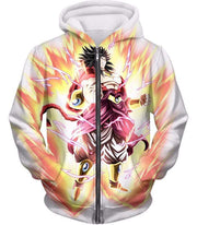 OtakuForm-OP T-Shirt Zip Up Hoodie / XXS Dragon Ball Super Legendary Saiyan Warrior Broly Ultra Instinct Rising Awesome White T-Shirt - DBZ Clothing T-Shirt