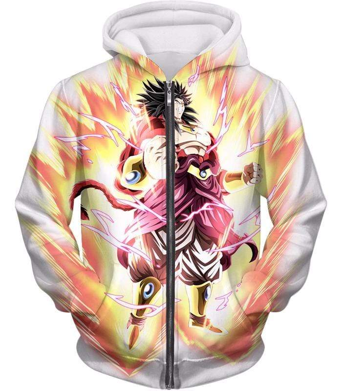 OtakuForm-OP Zip Up Hoodie Zip Up Hoodie / XXS Dragon Ball Super Legendary Saiyan Warrior Broly Ultra Instinct Rising Awesome White Zip Up Hoodie - DBZ Clothing Hoodie
