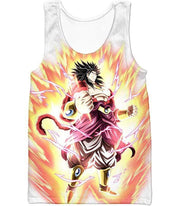 OtakuForm-OP Zip Up Hoodie Tank Top / XXS Dragon Ball Super Legendary Saiyan Warrior Broly Ultra Instinct Rising Awesome White Zip Up Hoodie - DBZ Clothing Hoodie