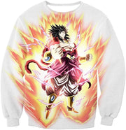 OtakuForm-OP Zip Up Hoodie Sweatshirt / XXS Dragon Ball Super Legendary Saiyan Warrior Broly Ultra Instinct Rising Awesome White Zip Up Hoodie - DBZ Clothing Hoodie