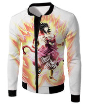 OtakuForm-OP Zip Up Hoodie Jacket / XXS Dragon Ball Super Legendary Saiyan Warrior Broly Ultra Instinct Rising Awesome White Zip Up Hoodie - DBZ Clothing Hoodie