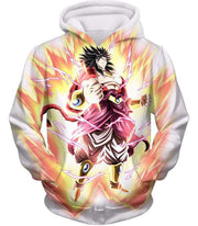 OtakuForm-OP Zip Up Hoodie Hoodie / XXS Dragon Ball Super Legendary Saiyan Warrior Broly Ultra Instinct Rising Awesome White Zip Up Hoodie - DBZ Clothing Hoodie