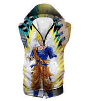 OtakuForm-OP Sweatshirt Hooded Tank Top / XXS Dragon Ball Super One Handed Goku Super Saiyan Action Graphic Sweatshirt