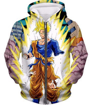 OtakuForm-OP Sweatshirt Zip Up Hoodie / XXS Dragon Ball Super One Handed Goku Super Saiyan Action Graphic Sweatshirt