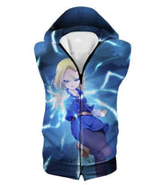 OtakuForm-OP T-Shirt Hooded Tank Top / XXS Dragon Ball Super Pretty Android 18 Cool Fighter Blue T-Shirt - Dragon Ball Super T-Shirt