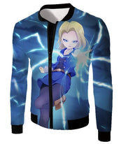 OtakuForm-OP Zip Up Hoodie Jacket / XXS Dragon Ball Super Pretty Android 18 Cool Fighter Blue Zip Up Hoodie - Dragon Ball Super Hoodie