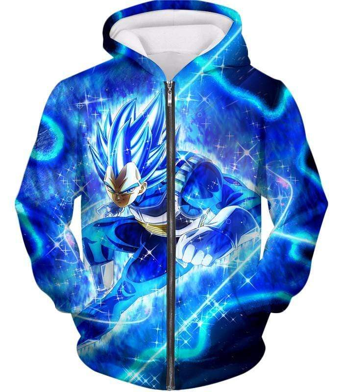 OtakuForm-OP Zip Up Hoodie Zip Up Hoodie / XXS Dragon Ball Super Prince Vegeta Super Saiyan Blue Ultimate Anime Graphic Action Zip Up Hoodie - DBZ Hoodie