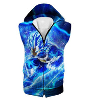 OtakuForm-OP Zip Up Hoodie Hooded Tank Top / XXS Dragon Ball Super Prince Vegeta Super Saiyan Blue Ultimate Anime Graphic Action Zip Up Hoodie - DBZ Hoodie
