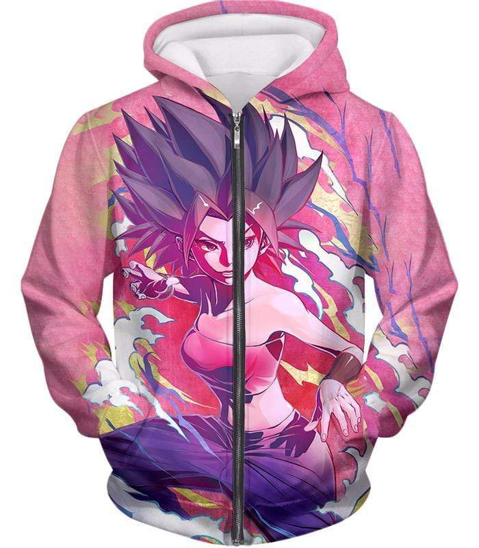 OtakuForm-OP Sweatshirt Zip Up Hoodie / XXS Dragon Ball Super Saiyan Caulifla Cool Action Pink Sweatshirt - Dragon Ball Sweater