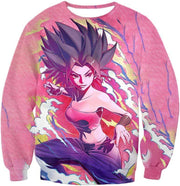 OtakuForm-OP T-Shirt Sweatshirt / XXS Dragon Ball Super Saiyan Caulifla Cool Action Pink T-Shirt - Dragon Ball T-Shirt