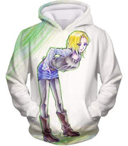 OtakuForm-OP Hoodie Hoodie / XXS Dragon Ball Super Super Cute Android 18 Drawing Cool White Hoodie