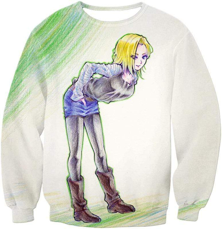 OtakuForm-OP Hoodie Sweatshirt / XXS Dragon Ball Super Super Cute Android 18 Drawing Cool White Hoodie