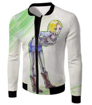 OtakuForm-OP Hoodie Jacket / XXS Dragon Ball Super Super Cute Android 18 Drawing Cool White Hoodie
