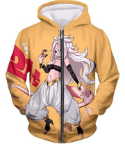 OtakuForm-OP Sweatshirt Zip Up Hoodie / XXS Dragon Ball Super Super Cute Evil Android 21 Awesome Anime Sweatshirt - DBZ Clothing Sweater