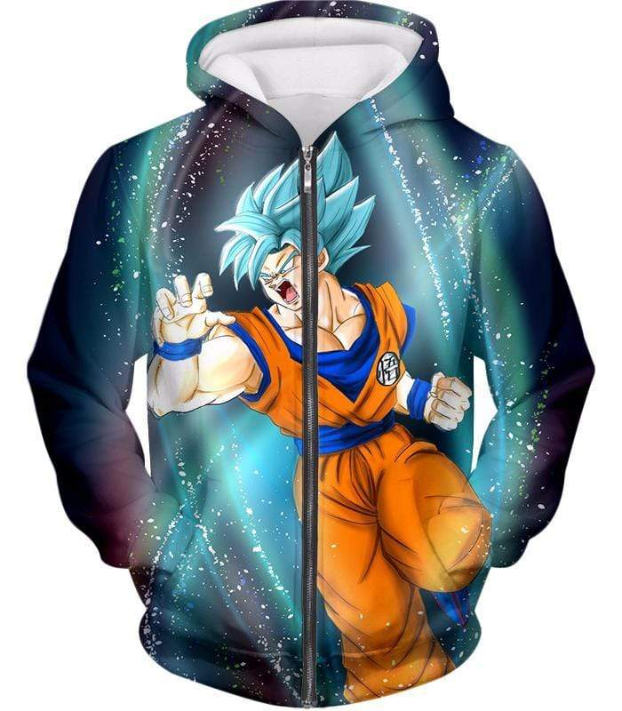 OtakuForm-OP Sweatshirt Zip Up Hoodie / XXS Dragon Ball Super Super Saiyan Blue Goku Action Graphic Sweatshirt - DBZ Sweater