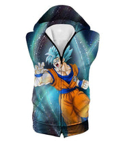 OtakuForm-OP Zip Up Hoodie Hooded Tank Top / XXS Dragon Ball Super Super Saiyan Blue Goku Action Graphic Zip Up Hoodie - DBZ Hoodie