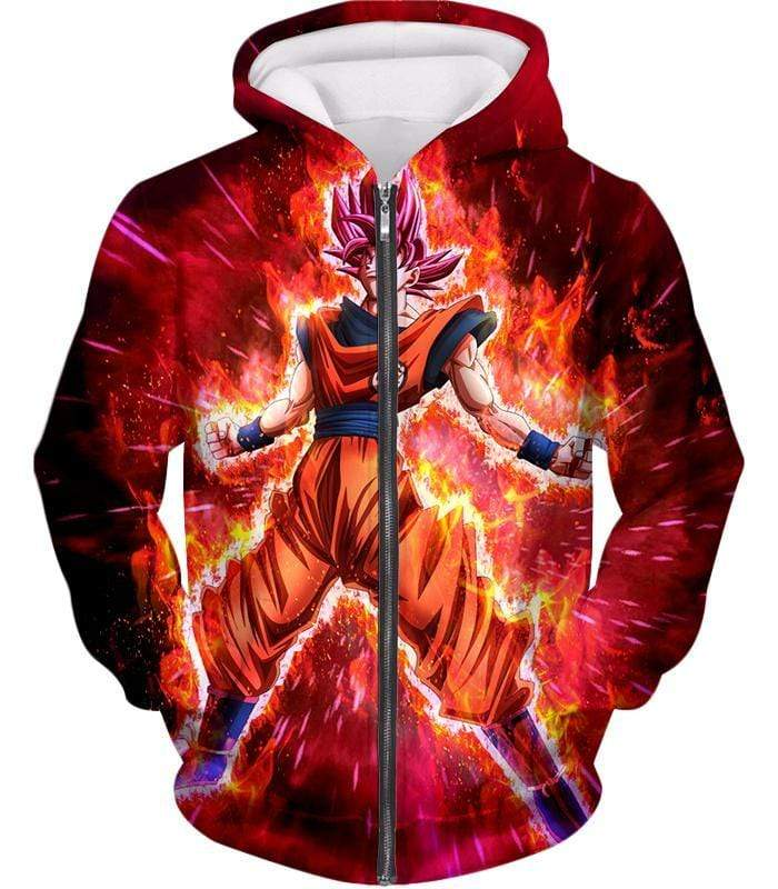 OtakuForm-OP Sweatshirt Zip Up Hoodie / XXS Dragon Ball Super Super Saiyan God Goku Power Rising Cool Sweatshirt - Dragon Ball Z Sweater