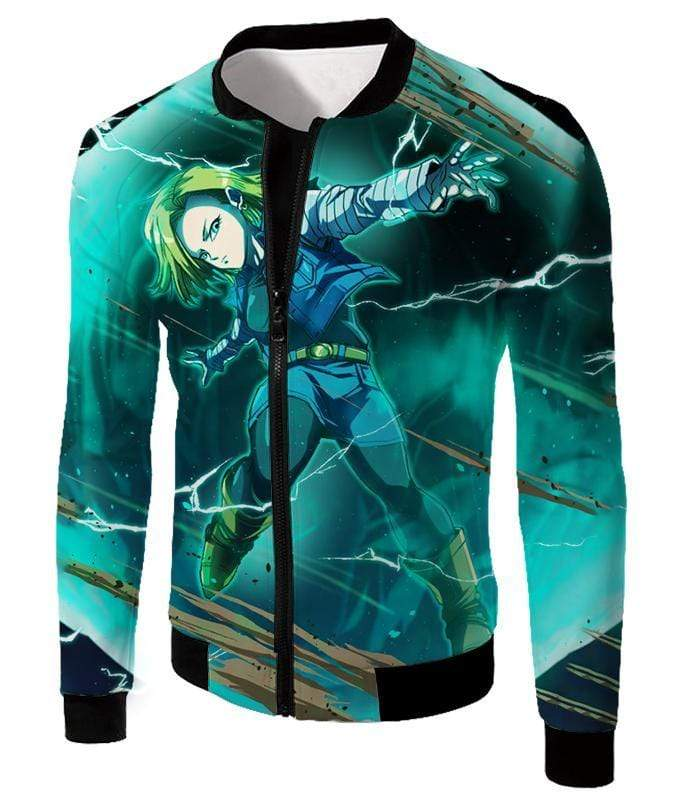 OtakuForm-OP Zip Up Hoodie Jacket / XXS Dragon Ball Super Very Cool Action Hero Android 18 Awesome Graphic Zip Up Hoodie - Dragon Ball Super Hoodie