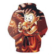 Anime Merchandise M / Orange Dragon Ball Z Hoodie - Cute Monkey Kid Goku Pullover Hoodie