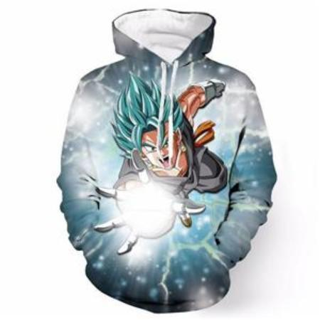 Anime Merchandise M / Light Blue Dragon Ball Z Hoodie - Flying Attack Vegito Super Saiyan Blue Pullover Hoodie