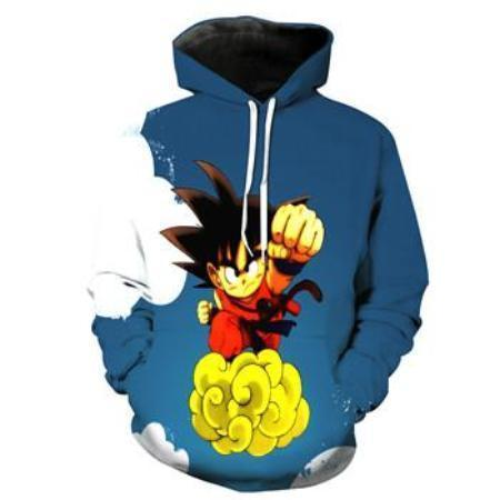 Anime Merchandise M / Blue Dragon Ball Z Hoodie - Flying Punch Kid Goku Pullover Hoodie