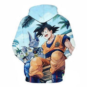 Anime Merchandise Hoodie M Dragon Ball Z Hoodie - Goku Chilling with Beerus Pullover Hoodie