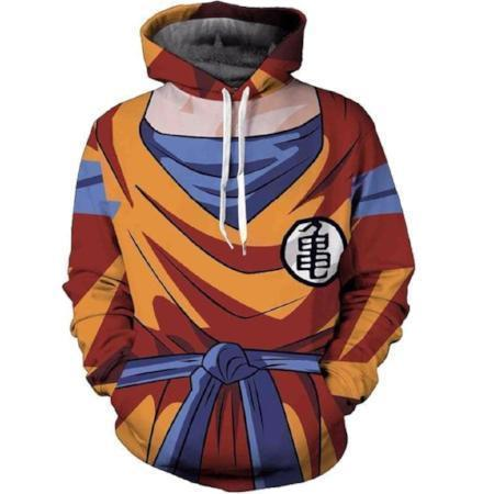 Anime Merchandise M / Orange Dragon Ball Z Hoodie - Goku Uniform with Kamesennin Symbol Pullover Hoodie