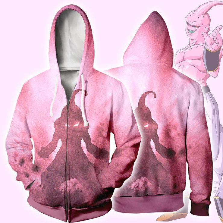 Dragon Ball Zip Up Hoodie XXS / Zip Up Hoodie Dragon Ball Z Hoodie  - Kid Buu Vector Zip Up Hoodie Jacket
