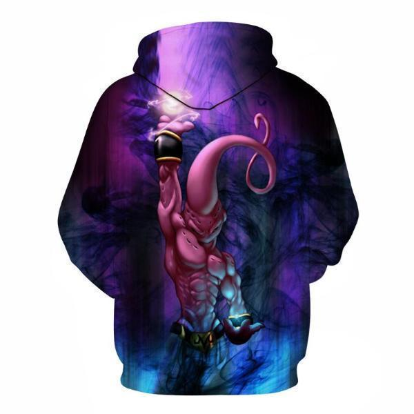 Anime Merchandise M / Purple Dragon Ball Z Hoodie - Kid Buu with a Spirit Bomb Pullover Hoodie