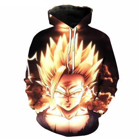 Anime Merchandise M / Black Dragon Ball Z Hoodie - Super Saiyan 2 Gohan Surrounded by Fire Pullover Hoodie