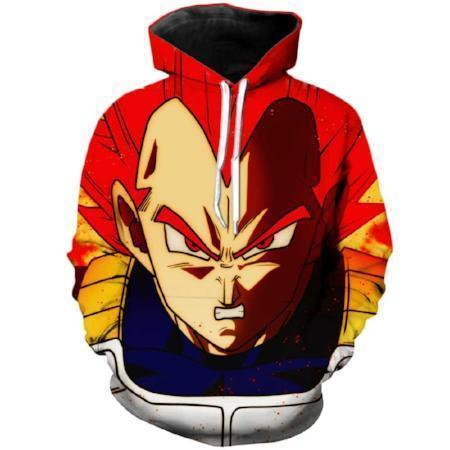 Anime Merchandise M / Red Dragon Ball Z Hoodie - Super Saiyan God Vegeta Pullover Hoodie