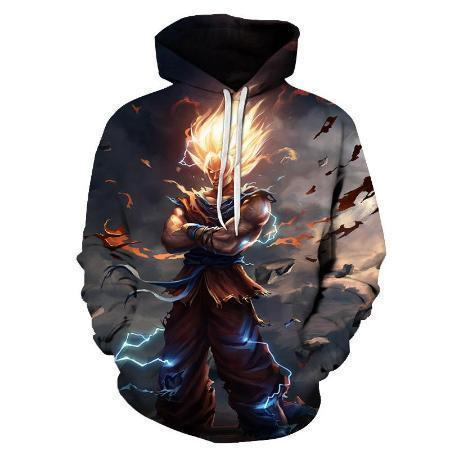 Anime Merchandise M Dragon Ball Z Hoodie - Super Saiyan Goku with Flaming Hair Pullover Hoodie