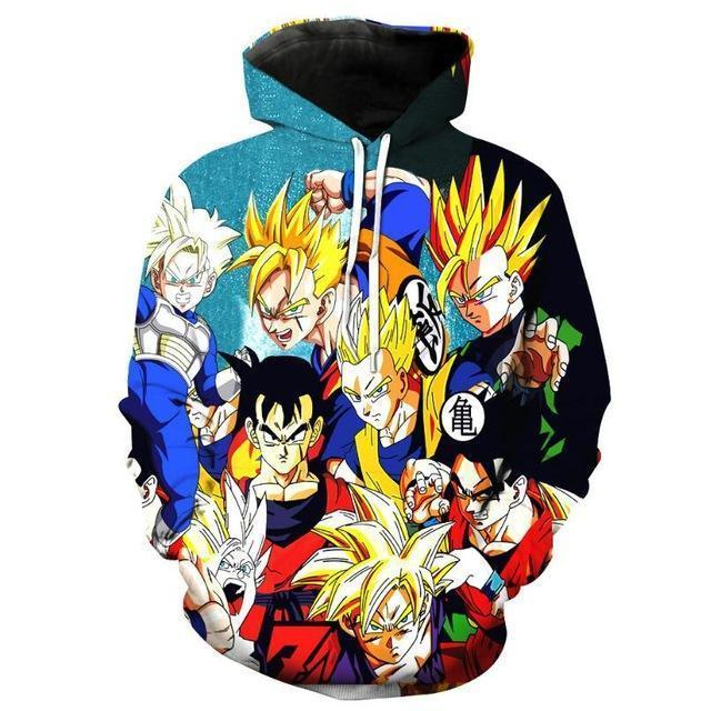 Anime Merchandise Hoodie M Dragon Ball Z Hoodie - the Z Fighters Pullover Hoodie