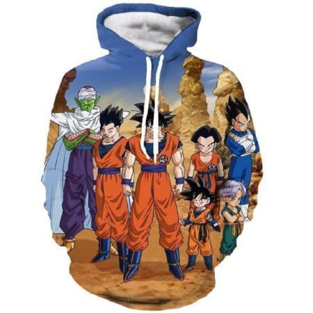 Anime Merchandise M / Blue Dragon Ball Z Hoodie - the Z Fighters Team Pullover Hoodie